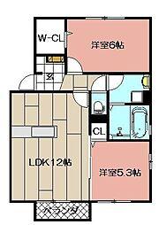 ウィットエブリ A棟[1階]の間取り