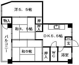 薬院マンション[6階]の間取り