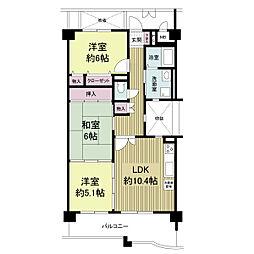 KDXレジデンス夙川ヒルズ 3番館(旧オクトス夙川)[0302号室]の間取り