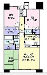 都営大江戸線 勝どき駅 徒歩7分の賃貸マンション 7階3LDKの間取り