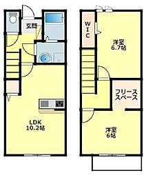 名鉄西尾線 桜町前駅 徒歩9分の賃貸タウンハウス 1階2LDKの間取り
