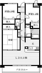兵庫県西宮市大井手町の賃貸マンションの間取り