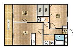 ユタカマンション[202号室]の間取り