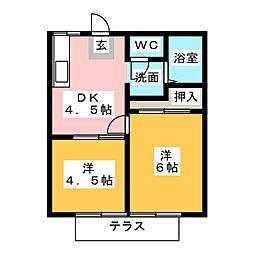 磯部ハイツ 月見屋敷A[1階]の間取り