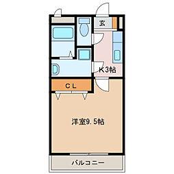 近鉄名古屋線 江戸橋駅 徒歩3分の賃貸マンション 1階1Kの間取り