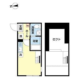 ハーミットクラブハウス戸塚VI 1階ワンルームの間取り