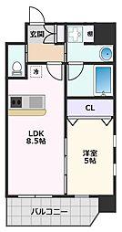 プレジオ江坂II 6階1LDKの間取り