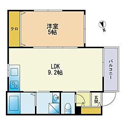 イクシオン箱崎宮 3階1LDKの間取り