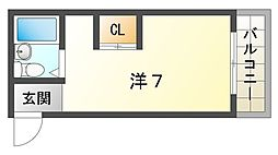 シャルム栄 5階ワンルームの間取り