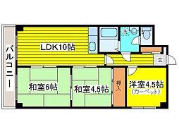 北海道札幌市東区北二十五条東20丁目の賃貸マンションの間取り