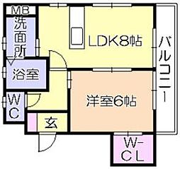 ソレイユ津福[2階]の間取り