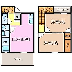 [テラスハウス] 三重県津市桜橋1丁目 の賃貸【/】の間取り