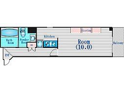 Osaka Metro谷町線 天満橋駅 徒歩2分の賃貸マンション 3階ワンルームの間取り