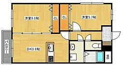 クレスト大善寺[2階]の間取り