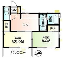 神奈川県横浜市中区本牧間門の賃貸アパートの間取り