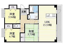 阪急宝塚本線 岡町駅 徒歩24分の賃貸マンション 6階3LDKの間取り