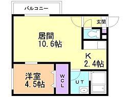 仮)美園12-7MS 4階1LDKの間取り