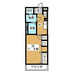 グレイス北松戸 3階1Kの間取り