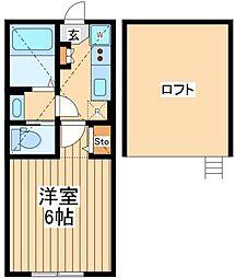 小田急小田原線 鶴川駅 徒歩10分の賃貸アパート 2階1Kの間取り