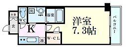 ファーストフィオーレ江坂グレイス 3階1Kの間取り