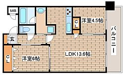 JR東海道・山陽本線 三ノ宮駅 徒歩8分の賃貸マンション 8階2LDKの間取り