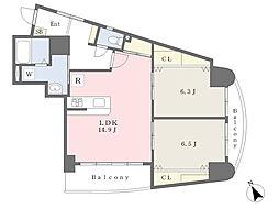 JR鹿児島本線 小倉駅 徒歩6分の賃貸マンション 7階2LDKの間取り