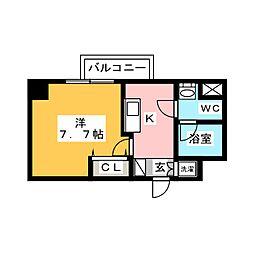 AZEST梅島 4階1Kの間取り