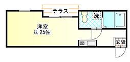 アークサカワ 1階ワンルームの間取り