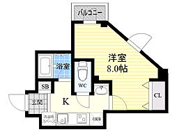 La famille k 3階1Kの間取り