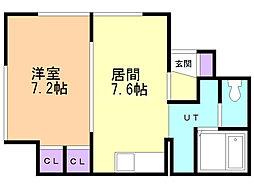 マイルーム澄川 4階1LDKの間取り