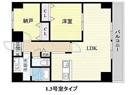 JR阪和線 和泉府中駅 徒歩5分の賃貸マンション 7階1SLDKの間取り