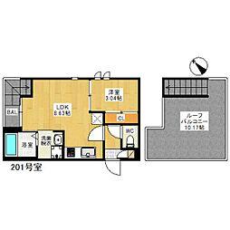 西鉄天神大牟田線 雑餉隈駅 徒歩10分の賃貸アパート 2階1LDKの間取り