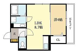 近鉄京都線 三山木駅 徒歩5分の賃貸アパート 2階1LDKの間取り