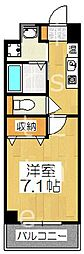 近鉄京都線 東寺駅 徒歩4分の賃貸マンション 4階1Kの間取り