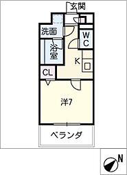 ラルーチェ東郷 3階1Kの間取り