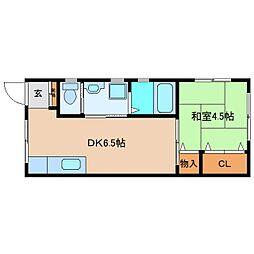 近鉄南大阪線 高田市駅 徒歩2分の賃貸アパート 1階1DKの間取り
