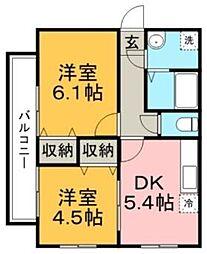 桜レジデンシャル[4階]の間取り