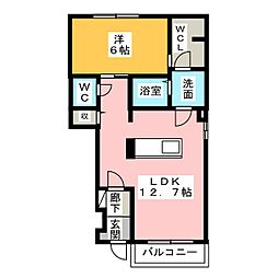 コンソラータ III 2階1LDKの間取り