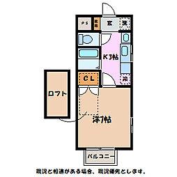 長野県伊那市西春近の賃貸アパートの間取り