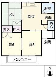 ドゥーライフ西門B棟[2階]の間取り