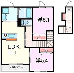 ラガール清瀬[2階]の間取り