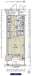 プレサンス新大阪ラ・トゥール 9階1Kの間取り