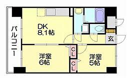 福岡市地下鉄空港線 福岡空港駅 バス14分 堤ヶ浦下車 徒歩4分の賃貸マンション 2階2DKの間取り