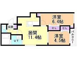 仮)サリーレ新札幌B 3階2LDKの間取り