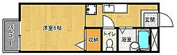 京都府京都市左京区浄土寺南田町の賃貸アパートの間取り
