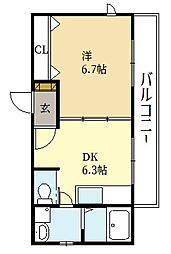 セントレ・デ・モンターニュ 2階1DKの間取り