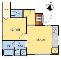 西武池袋線 東久留米駅 徒歩18分の賃貸アパート 1階1DKの間取り