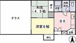 東京都日野市三沢2丁目の賃貸マンションの間取り