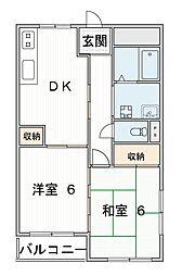 京阪本線 森小路駅 徒歩2分の賃貸マンション 3階2DKの間取り