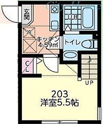 ゼクス橋本 2階1Kの間取り